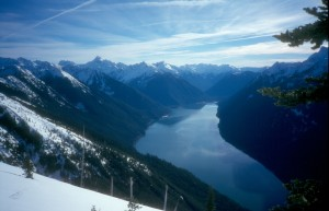 South down Chilliwack Lake from the Flora Lake Trail