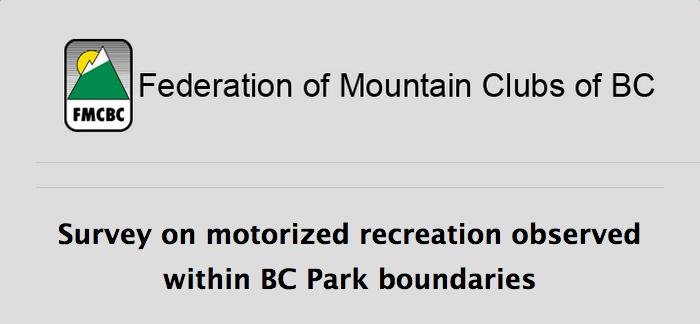 FMCBC Motorized Vehicle in BC Parks Survey