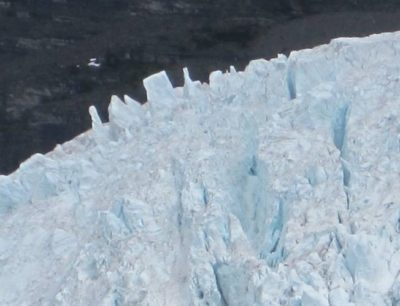 Unusually prominent seracs on the Berg Lake Glacier (Photo by Judy Lett, July 2020)